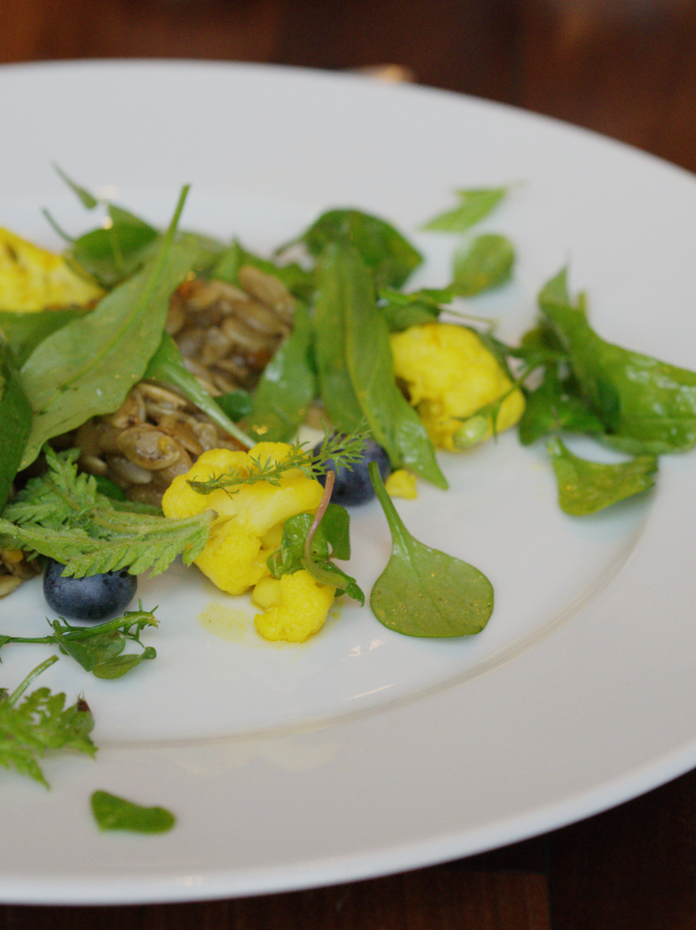 Beautiful pumpkin seed skirlie that was served with a forager's salad