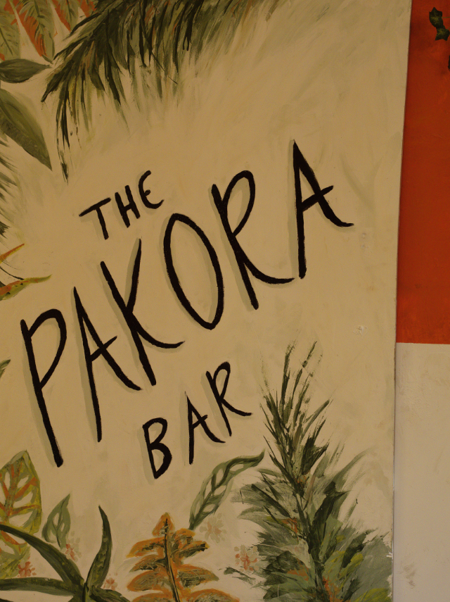 The lovely bright signage of The Pakora Bar