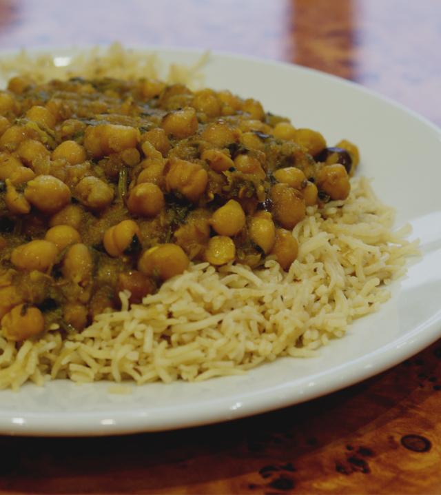 Vegan Chana Masala (chickpea curry) at the Mosque Kitchen, Edinburgh