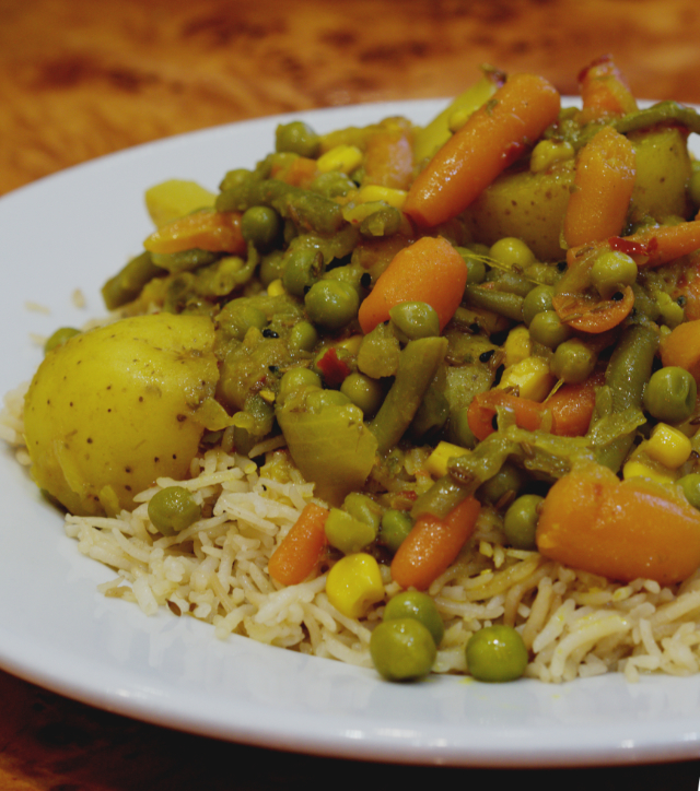 Cheap vegan vegetable curry at The Mosque Kitchen, Edinburgh
