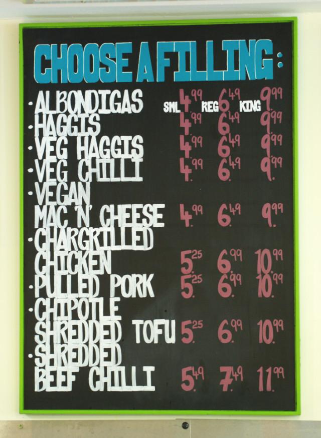 The menu at Taco Mazama, Edinburgh