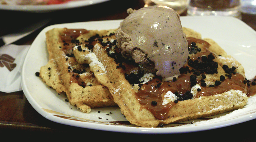 Vegan waffle with cookies and cream ice cream and cookie bits at affogato Edinburgh