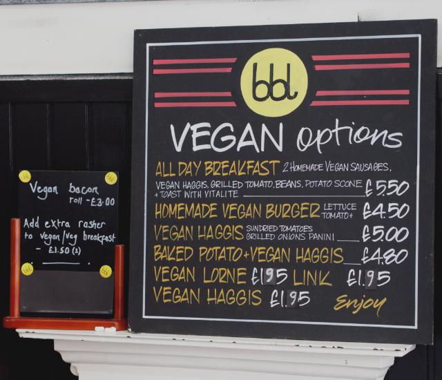 Vegan menu at bbl Edinburgh