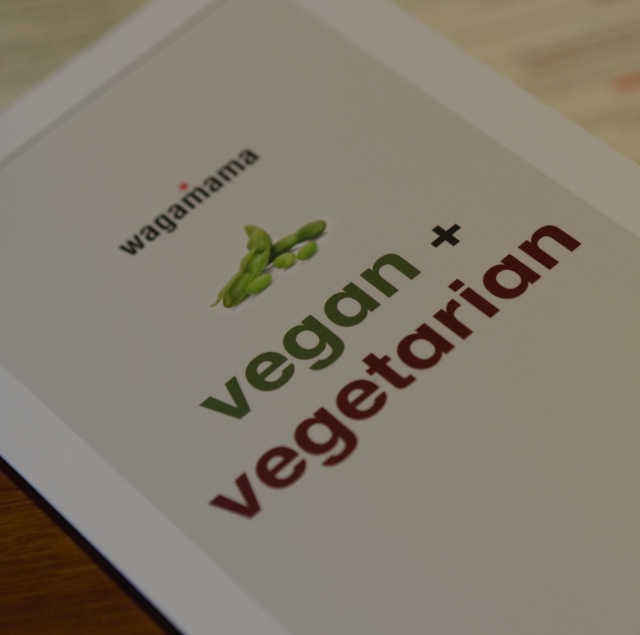 Vegan menu at Wagamama, Edinburgh