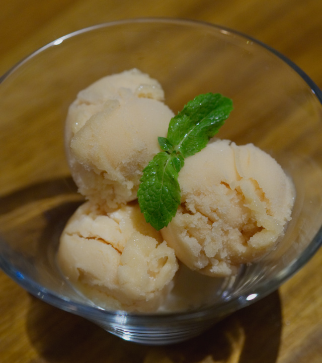 Vegan pink guava and passion fruit sorbet