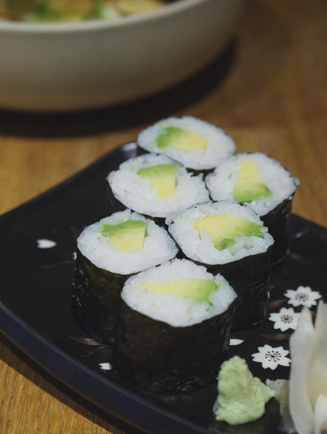 Avocado sushi at Tangs Edinburgh