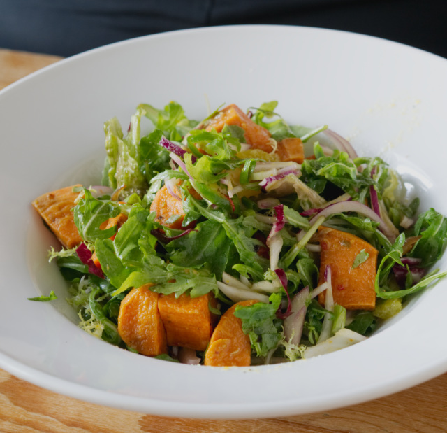 Vegan spicy sweet potato salad at Akva Edinburgh