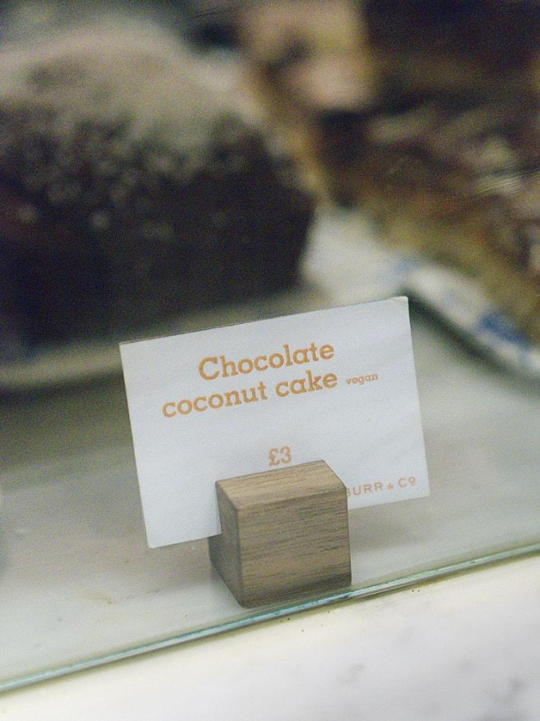 Vegan chocolate cake sign at Burr and Co Edinburgh