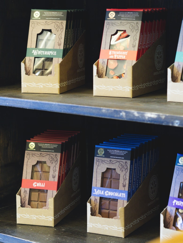 Vegan chocolate for sale at the Chocolate Tree Edinburgh