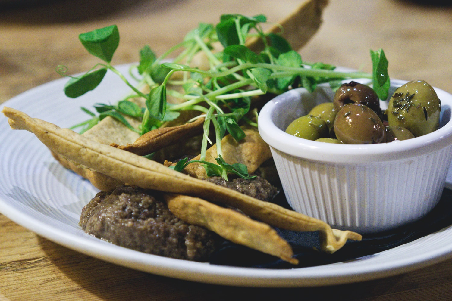 Vegan flatbreads and olive tapenade at No.1 The Grange, Edinburgh