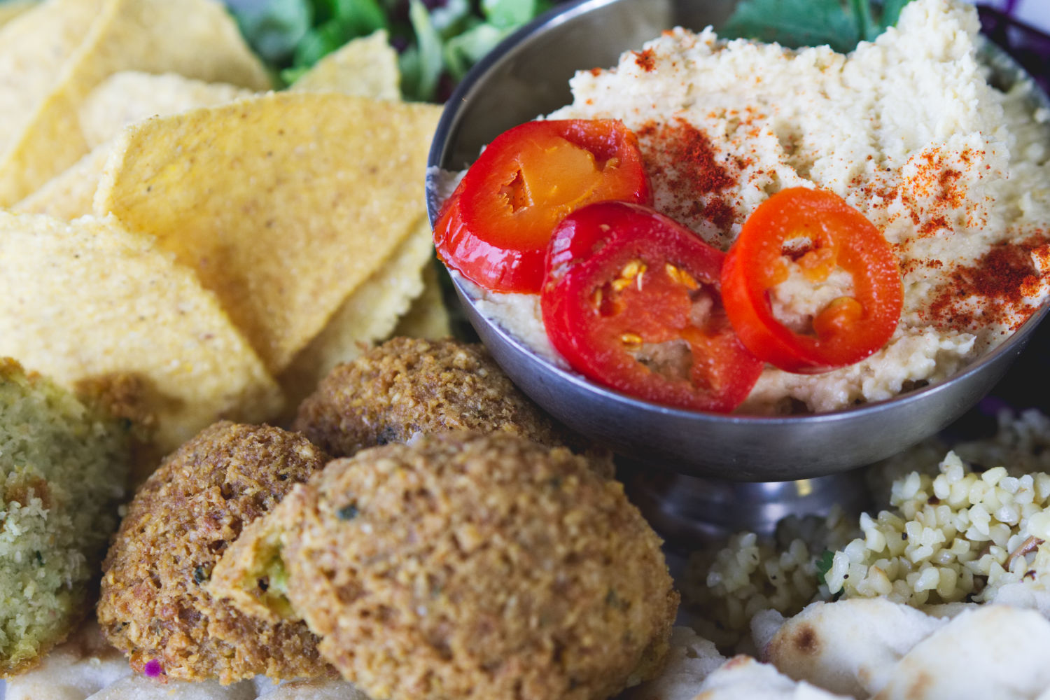 Vegan falafel meal at the Forest café Edinburgh