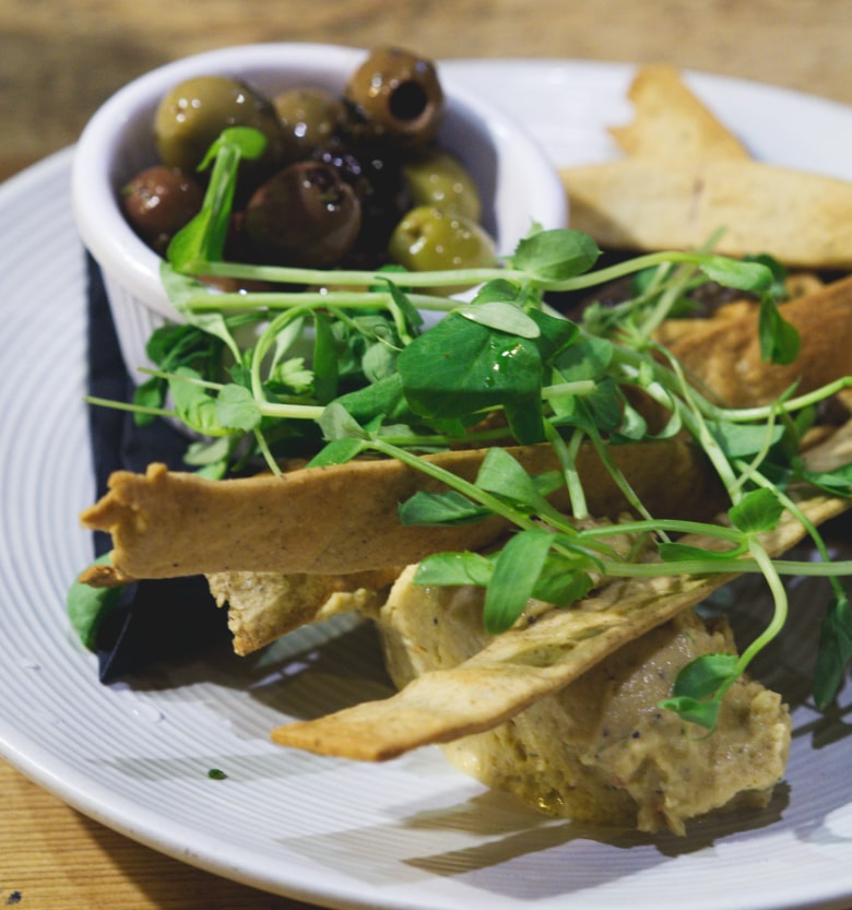 Vegan flatbreads and hummus at No.1 The Grange, Edinburgh