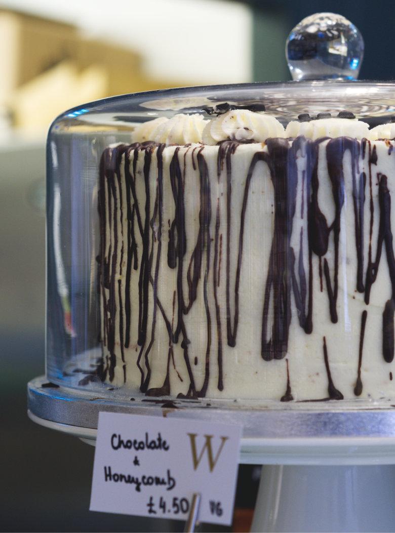 Vegan Chocolate Honeycomb Cake at Café W Edinburgh