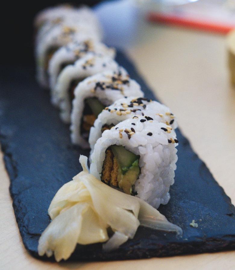 Vegan california roll at Bonsai Bistro Edinburgh