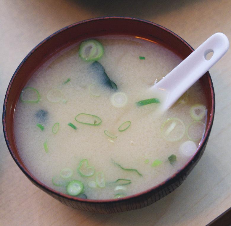 Vegan miso soup at Bonsai Bistro Edinburgh