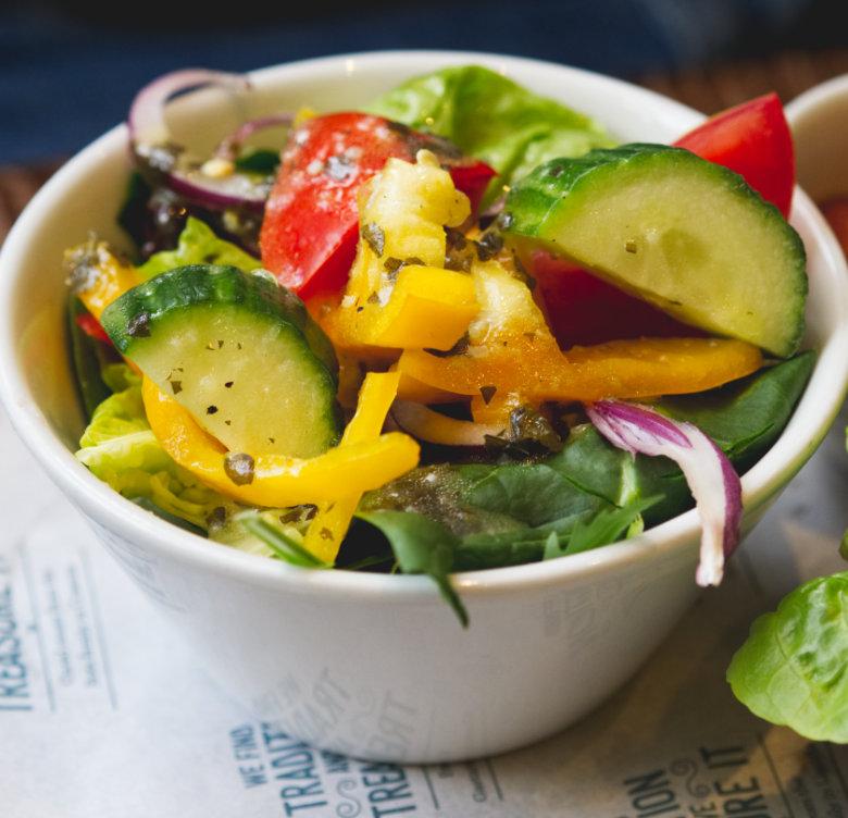 Vegan side salad at Bellia Italia Edinburgh