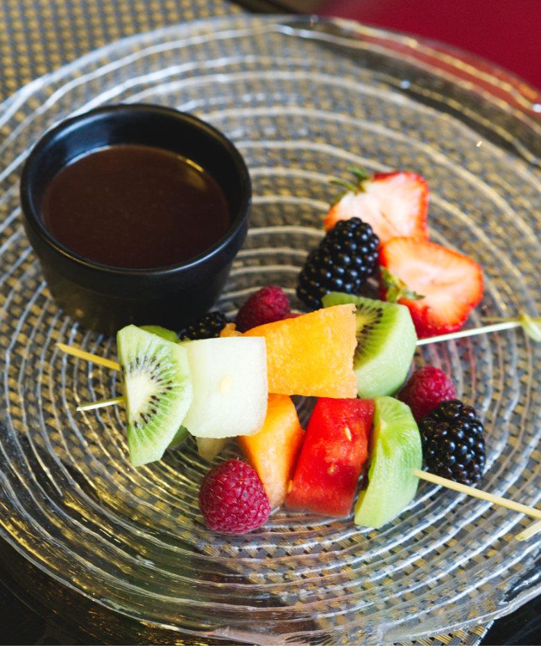 Vegan fruit fondue at Malmaison, Edinburgh