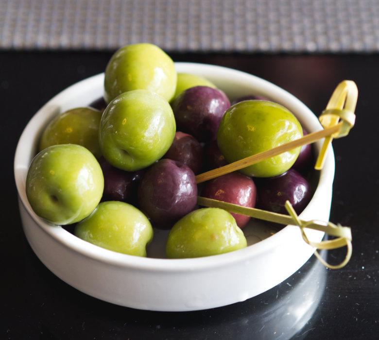 Vegan olives at Malmaison, Edinburgh