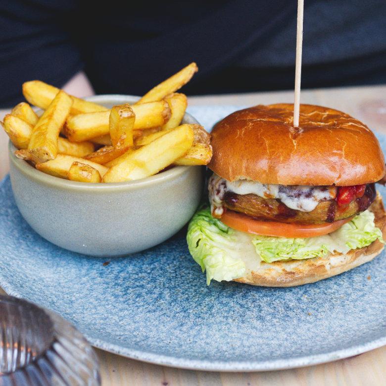 Vegan Seitan burger and fries at Vesta, Edinburgh