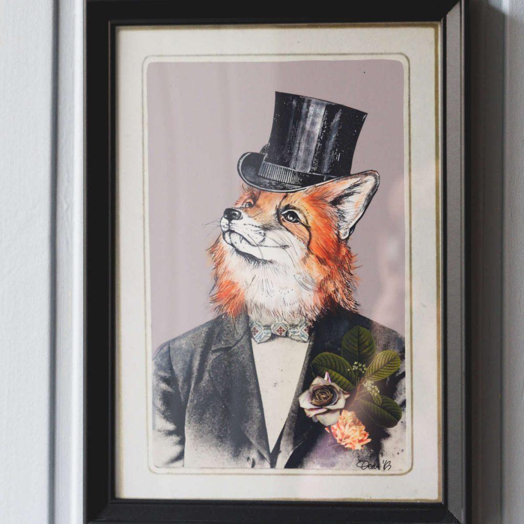 Fox painting at Black Rabbit, Edinburgh