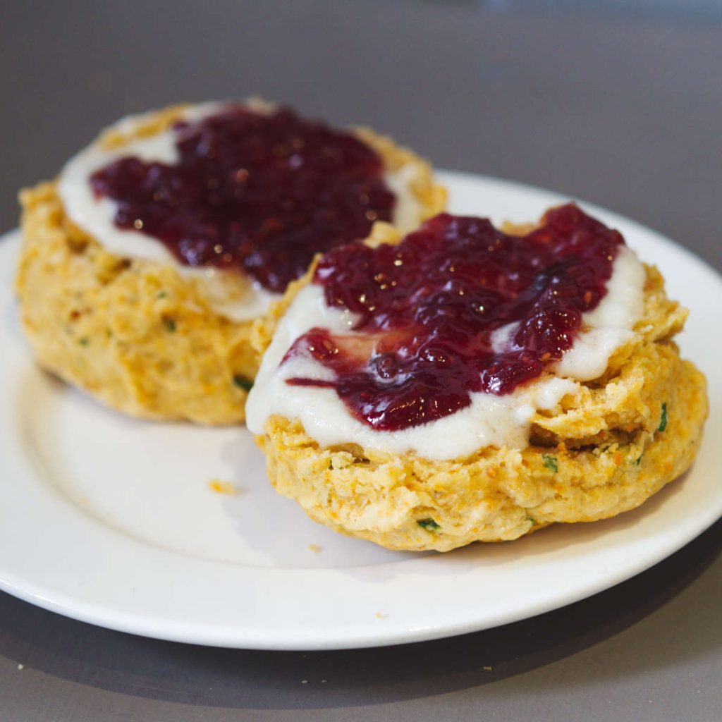 Vegan cheese scones at Black Rabbit, Edinburgh