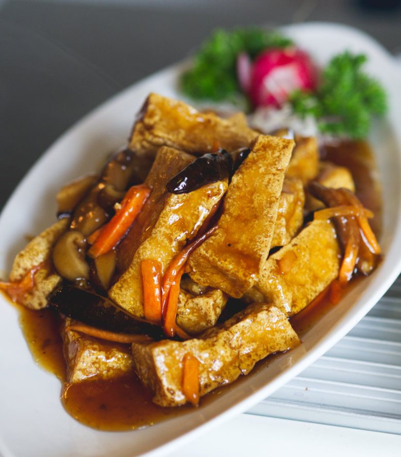 Vegan tofu with plum sauce at Chinese Manor House, Edinburgh