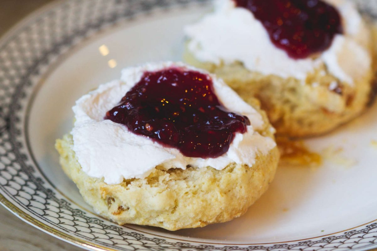 Vegan scones cream and jam at Beetroot Sauvage, Edinburgh