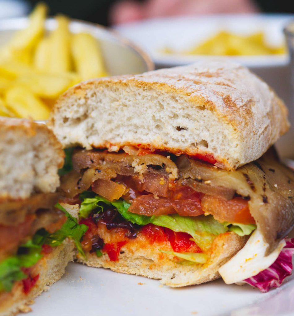 Vegan aubergine, lettuce and tomato sandwich at Checkpoint, Edinburgh