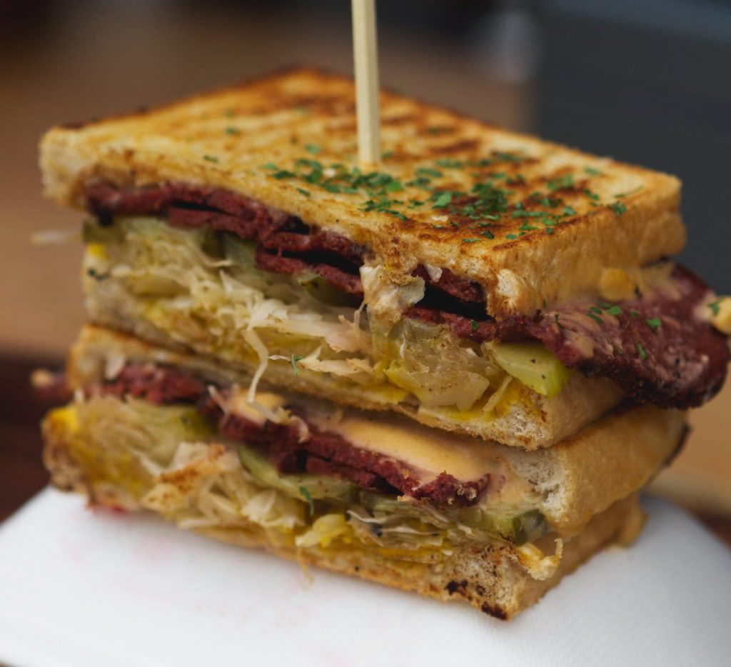 Vegan reuben sandwich by Faceplant Foods, Edinburgh