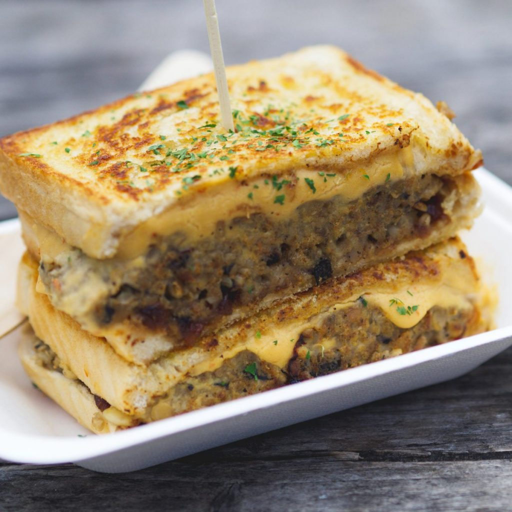 Vegan Haggis and Cheese melt by Faceplant Foods, Edinburgh
