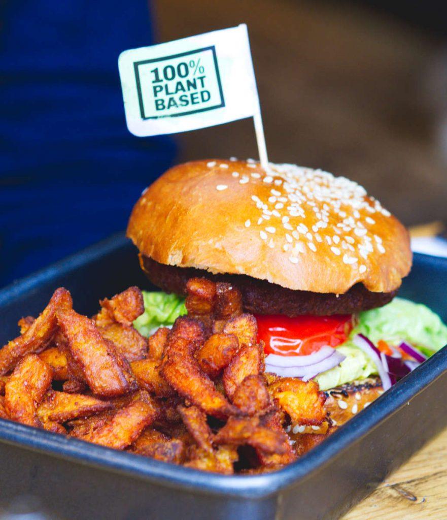 Vegan burger at Checkpoint, Edinburgh