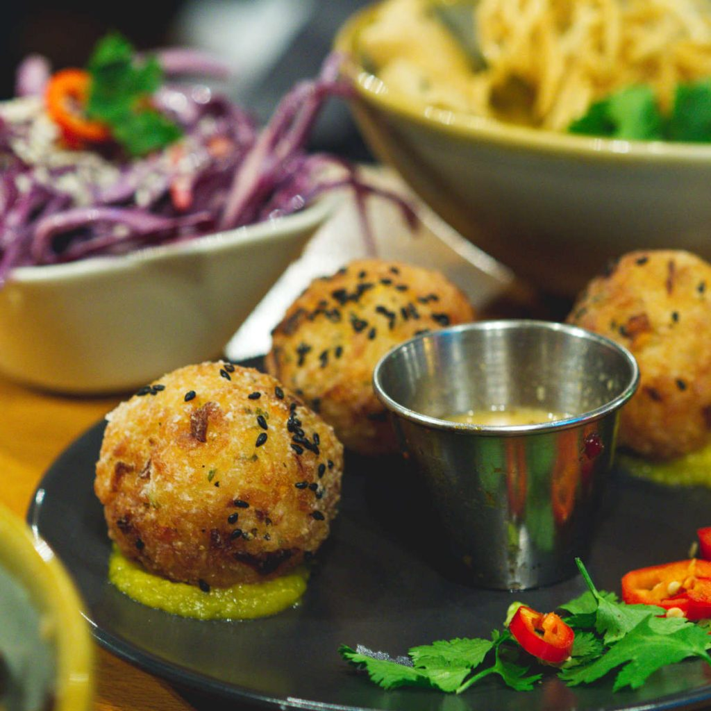Vegan rice balls at Ooh! Mami, Edinburgh