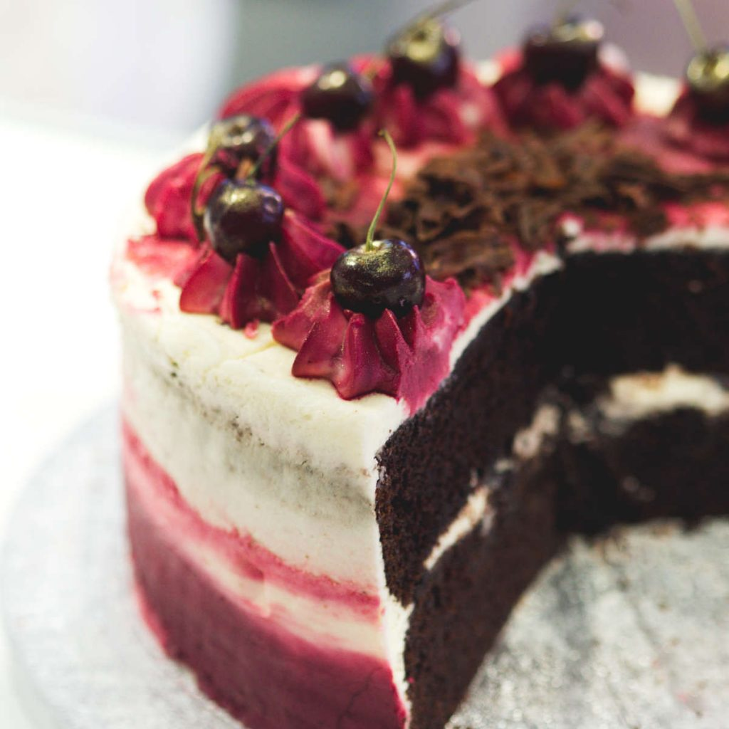 Vegan black forest cake at Naked Bakery, Edinburgh