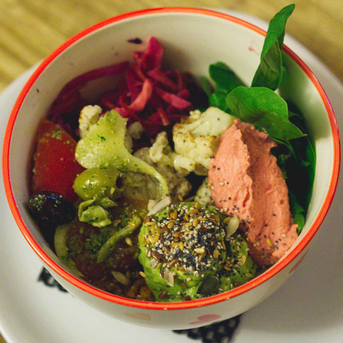 Vegan buddha bowl at Roots, Edinburgh