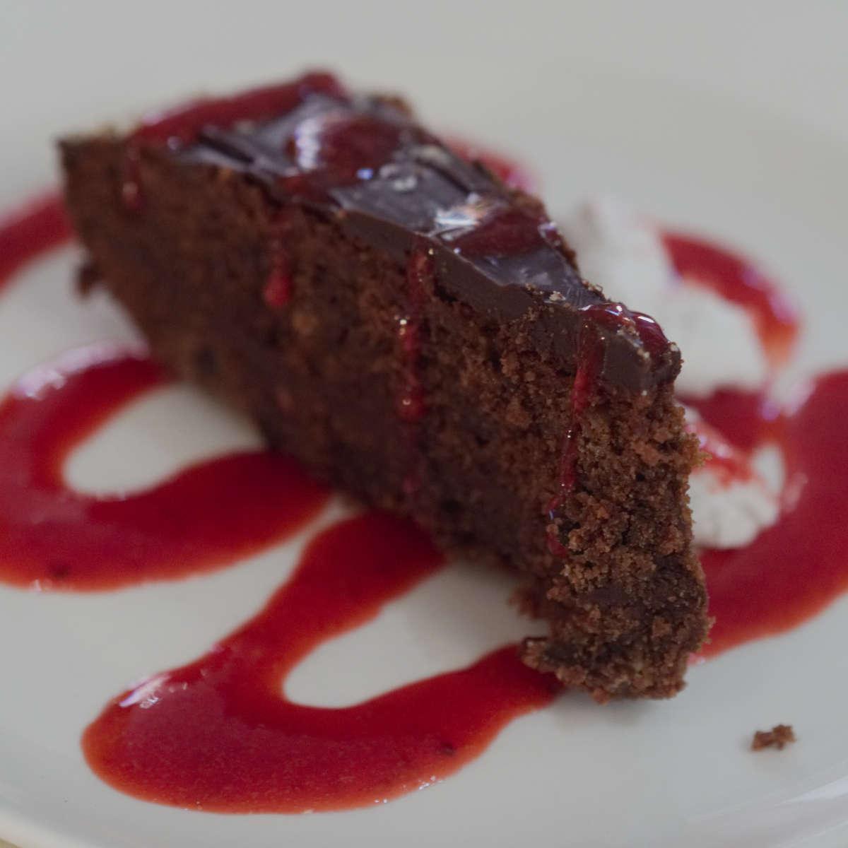 Vegan chocolate cake at Hendersons Edinburgh