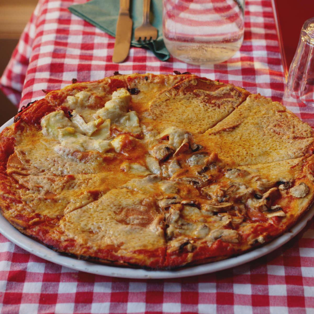 Vegan four seasons pizza at Novapizza, Edinburgh