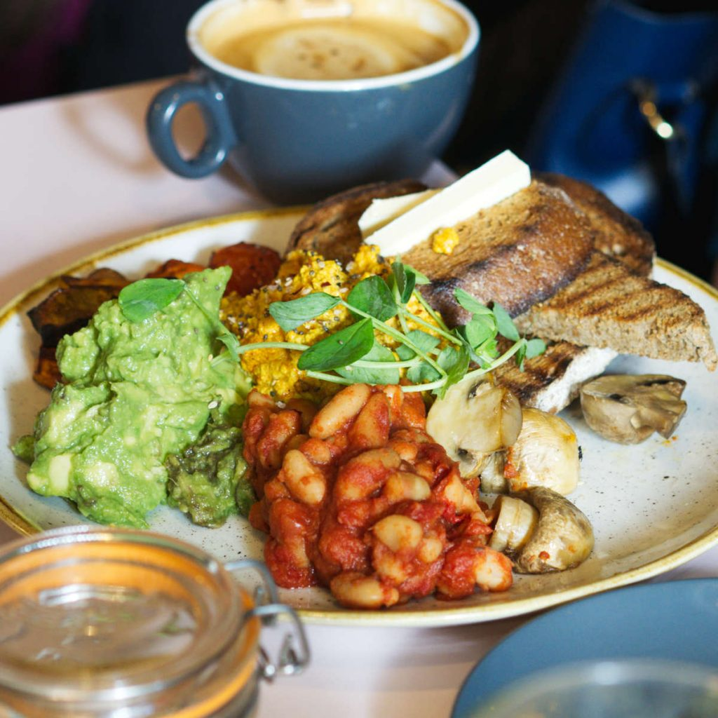 Vegan full breakfast at Hula Juice Bar, Edinburgh