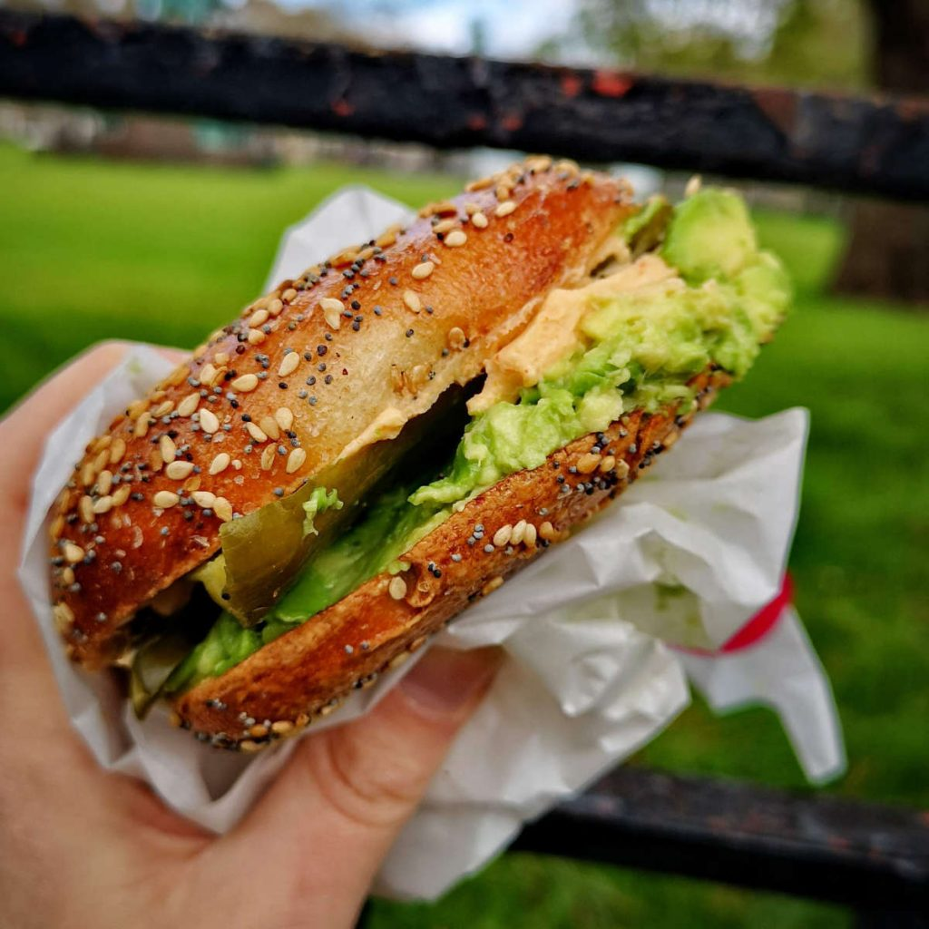 Hungry vegan bagel at Bross Bagels