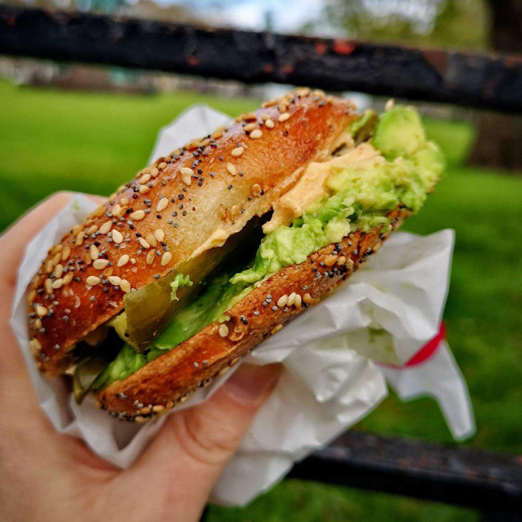Hungry vegan bagel at Bross Bagels