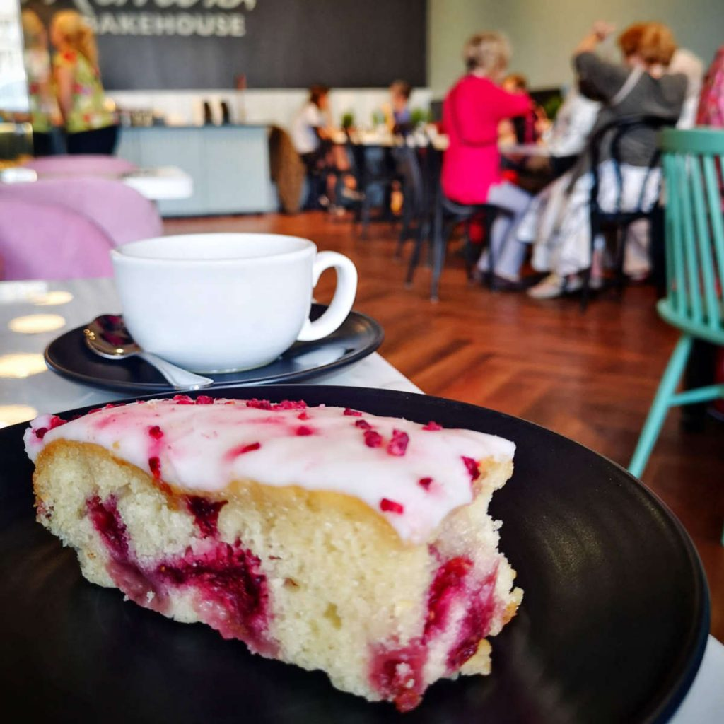 Vegan raspberry and lemon cake at Mimi's Bakehouse, Edinburgh