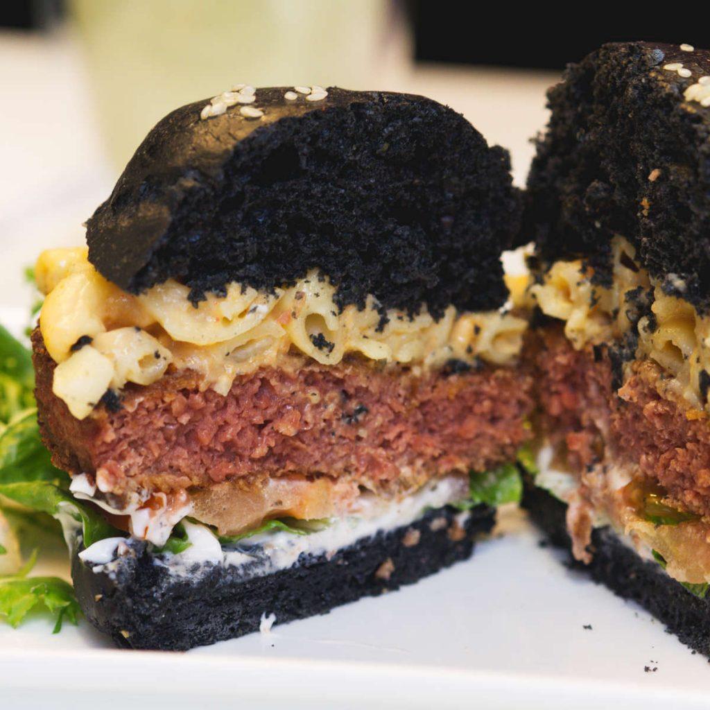 Open vegan mac and cheese burger at Naked Bakery, Edinburgh