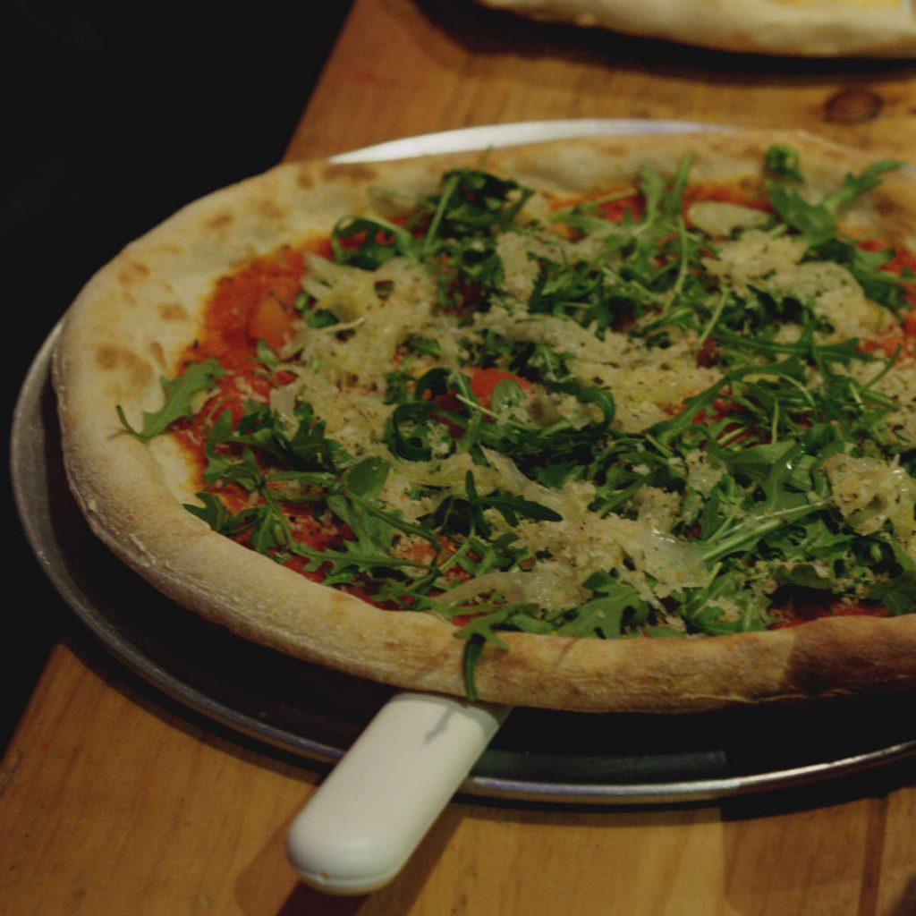Vegan pizza at Civerinos, Edinburgh