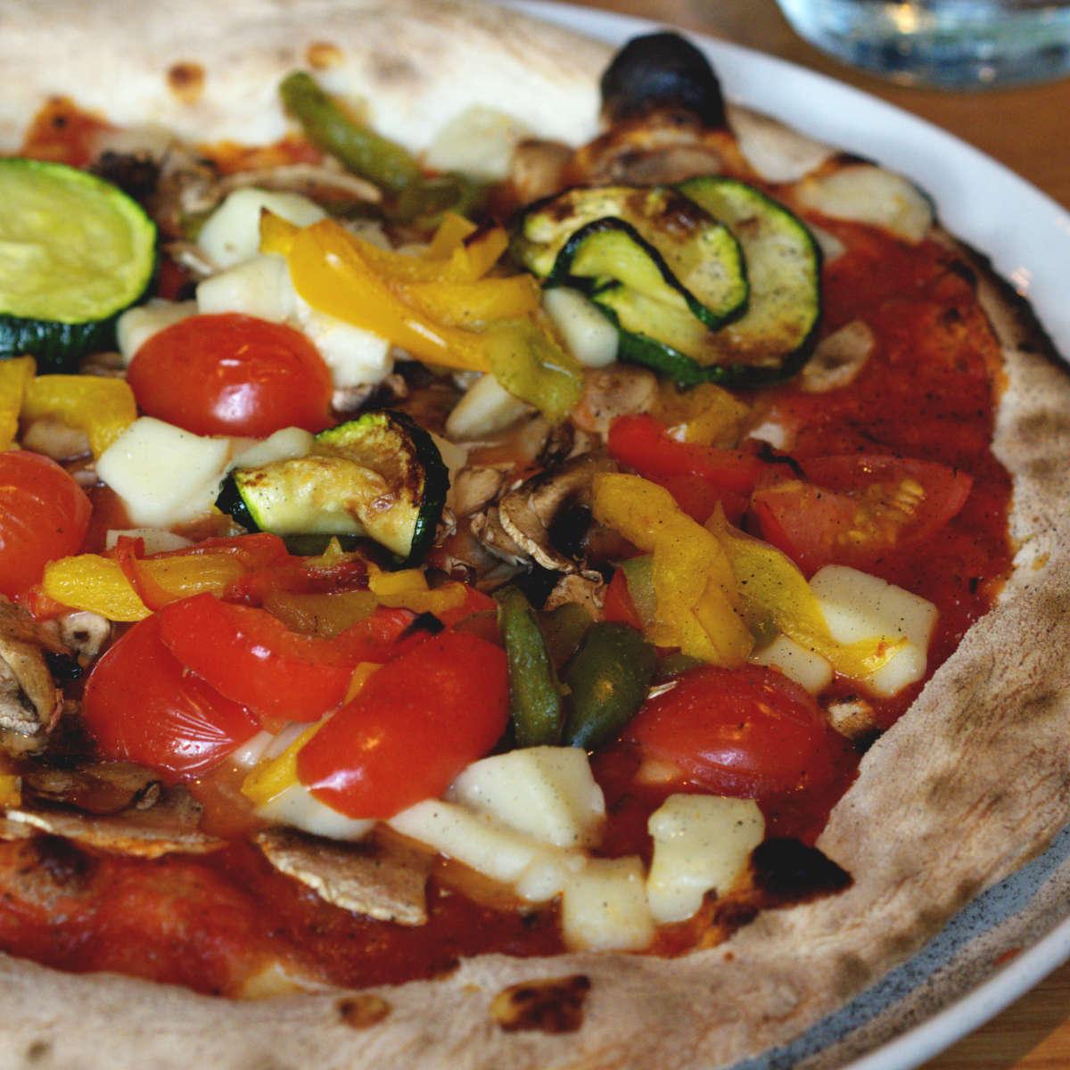 Vegan pizza at La Favorita, Edinburgh