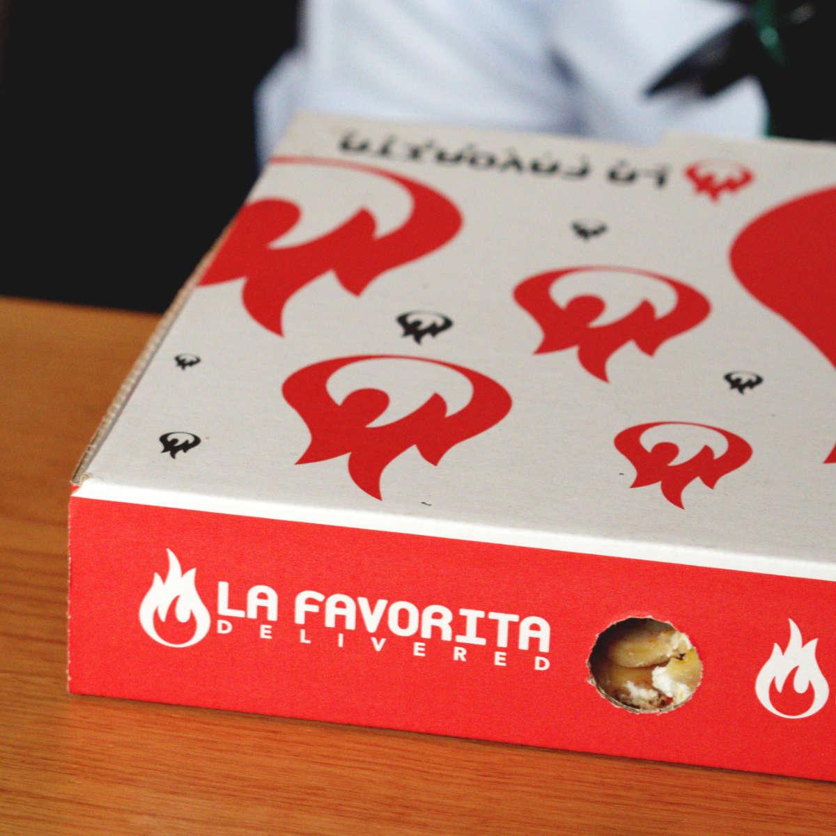 Pizza box from La Favorita, Edinburgh