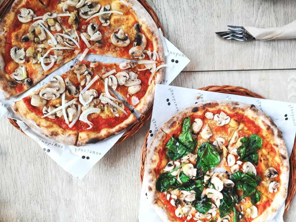Vegan pizza at Soderberg, Edinburgh