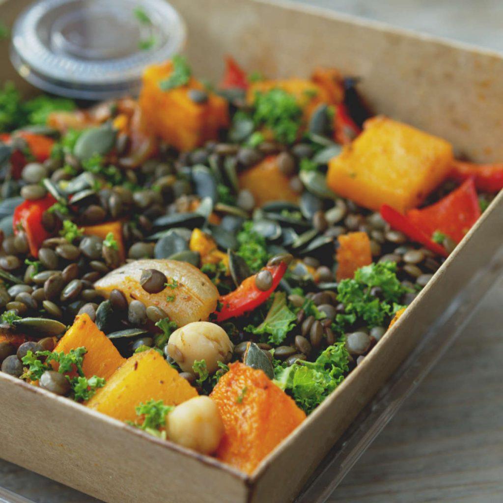 Vegan salad box at Pumpkin Brown, Edinburgh