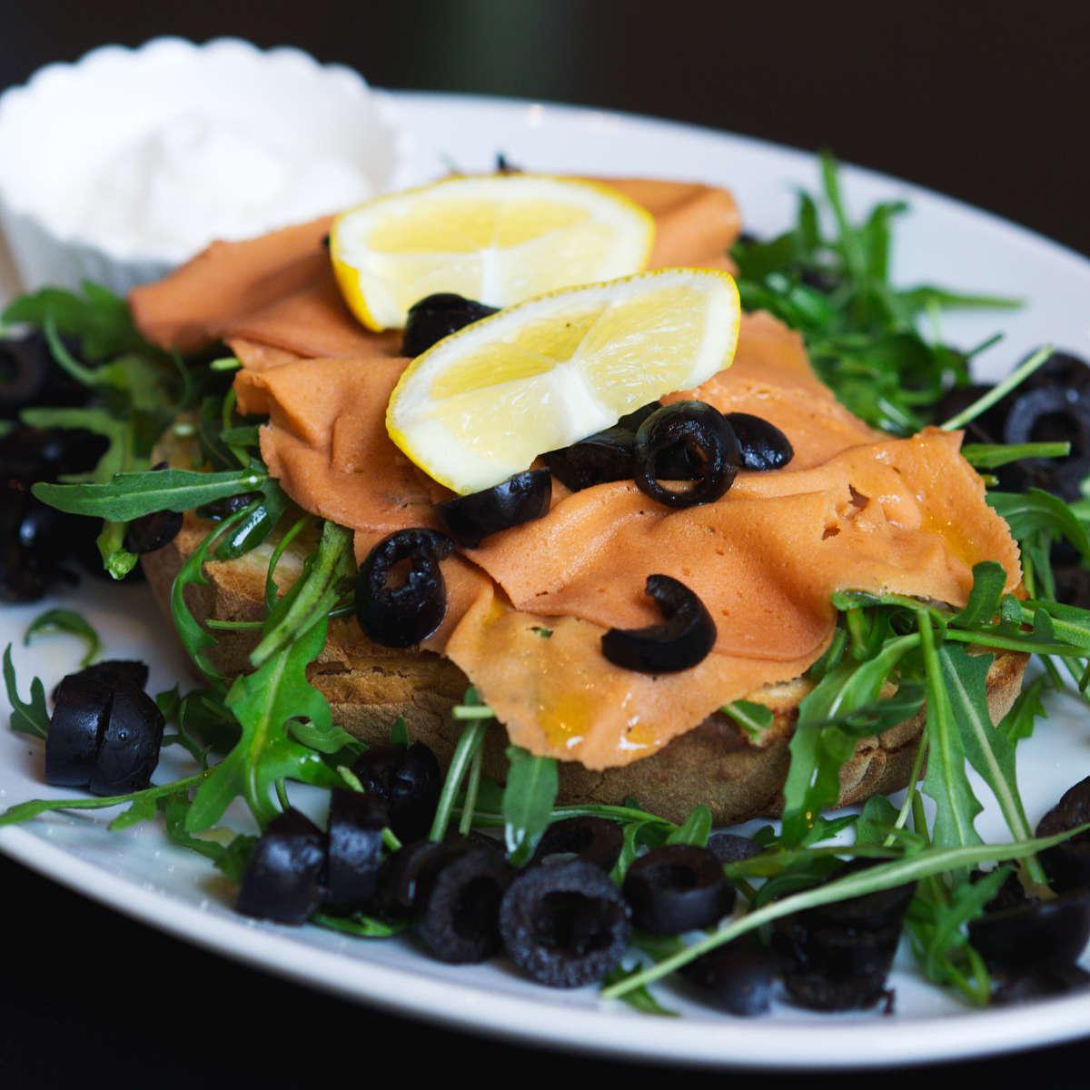 Vegan salmon bruschetta at Novapizza, Edinburgh