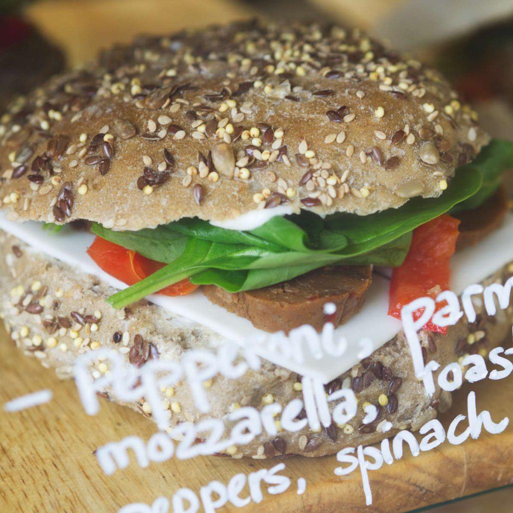 Vegan pepperoni sandwich at Chapter One Coffee Shop, Edinburgh