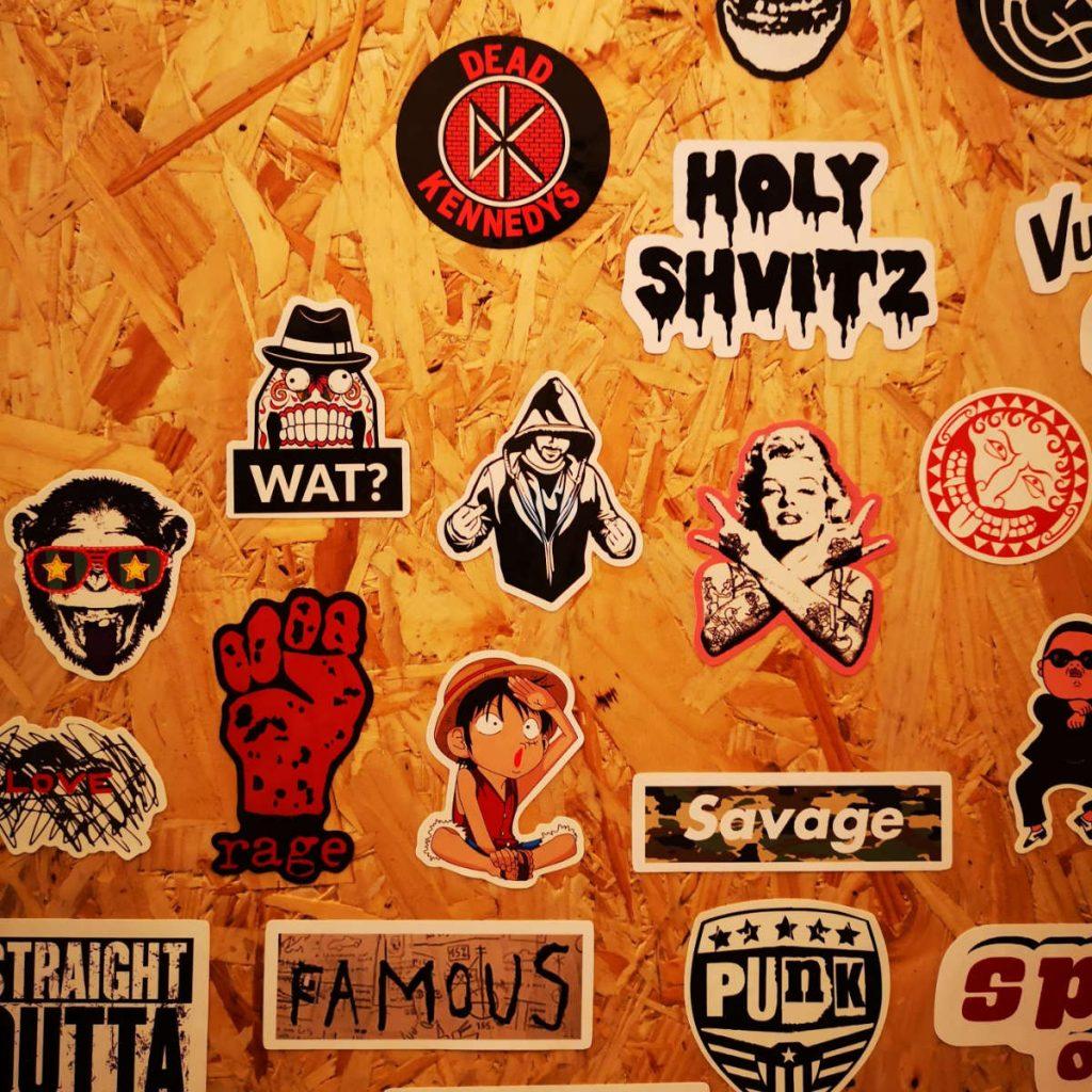 Stickers at Bross Bagels. Edinburgh