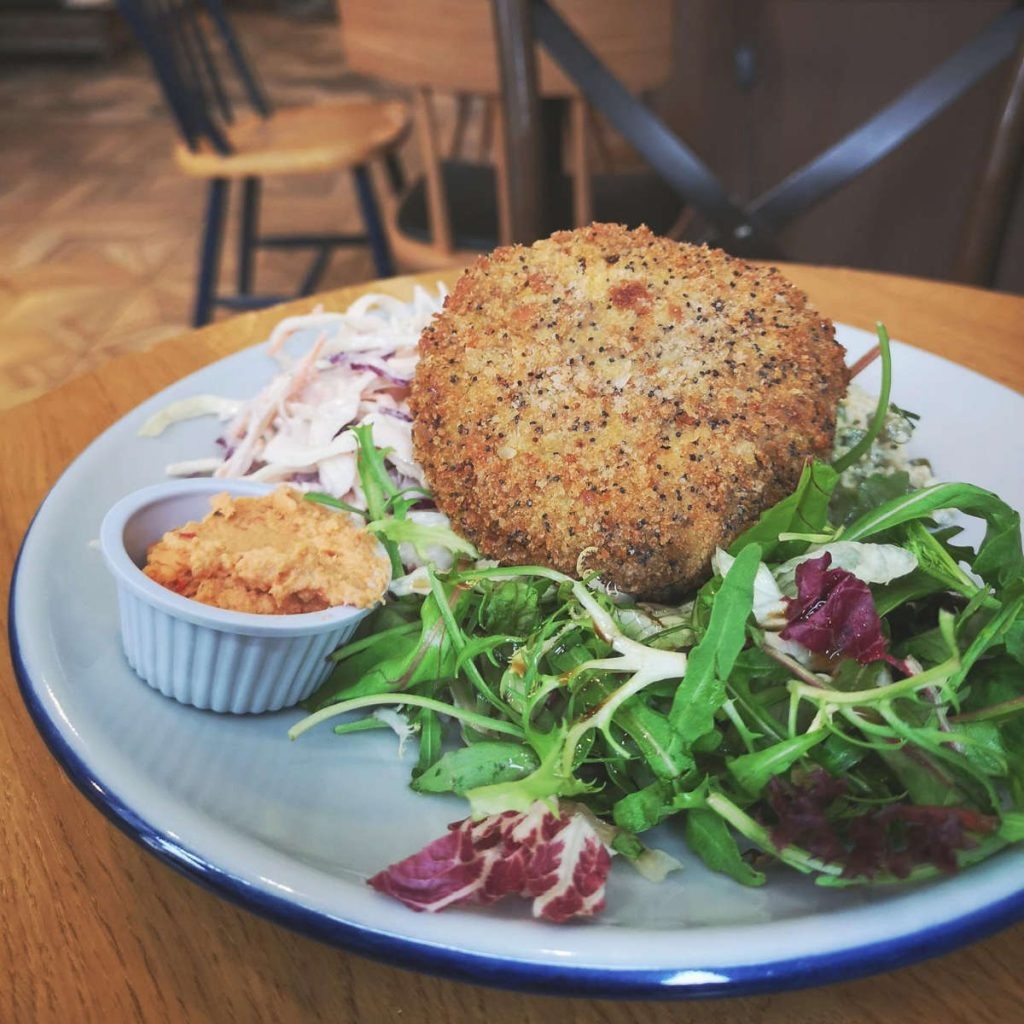 Vegan thai nut burger and salad at Hendersons Edinburgh